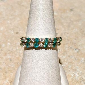 14k natural emerald and diamond band ring
